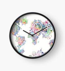 world map mandala white Clock