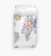 world map mandala white Duvet Cover