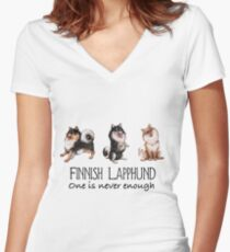 Finnish Lapphund - One is Never Enough - Black Women's Fitted V-Neck T-Shirt