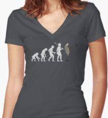 Evolution der Bohne (weiß) Tailliertes T-Shirt mit V-Ausschnitt