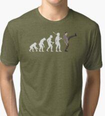 Evolution of Bean (White) Tri-blend T-Shirt