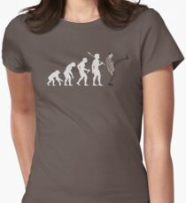 Evolution of Bean (White) Women's Fitted T-Shirt