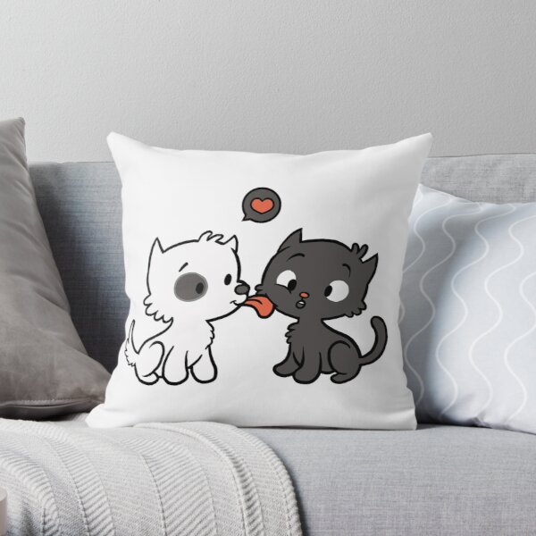 Doggy loves Kitty Throw Pillow