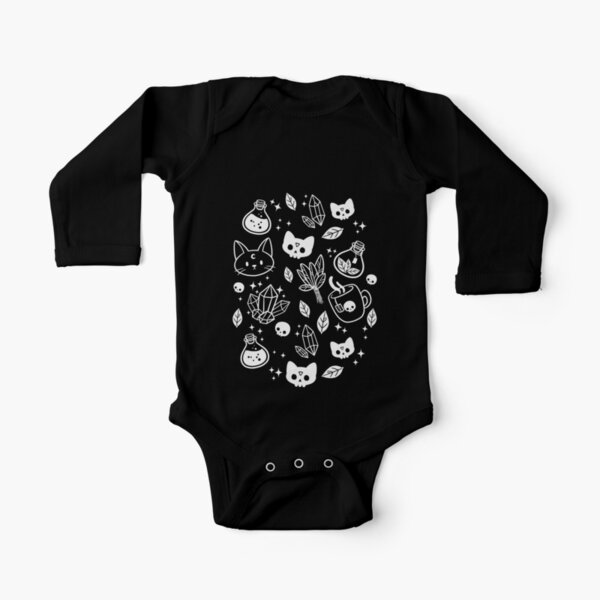 Herb Witch // Black & White Long Sleeve Baby One-Piece