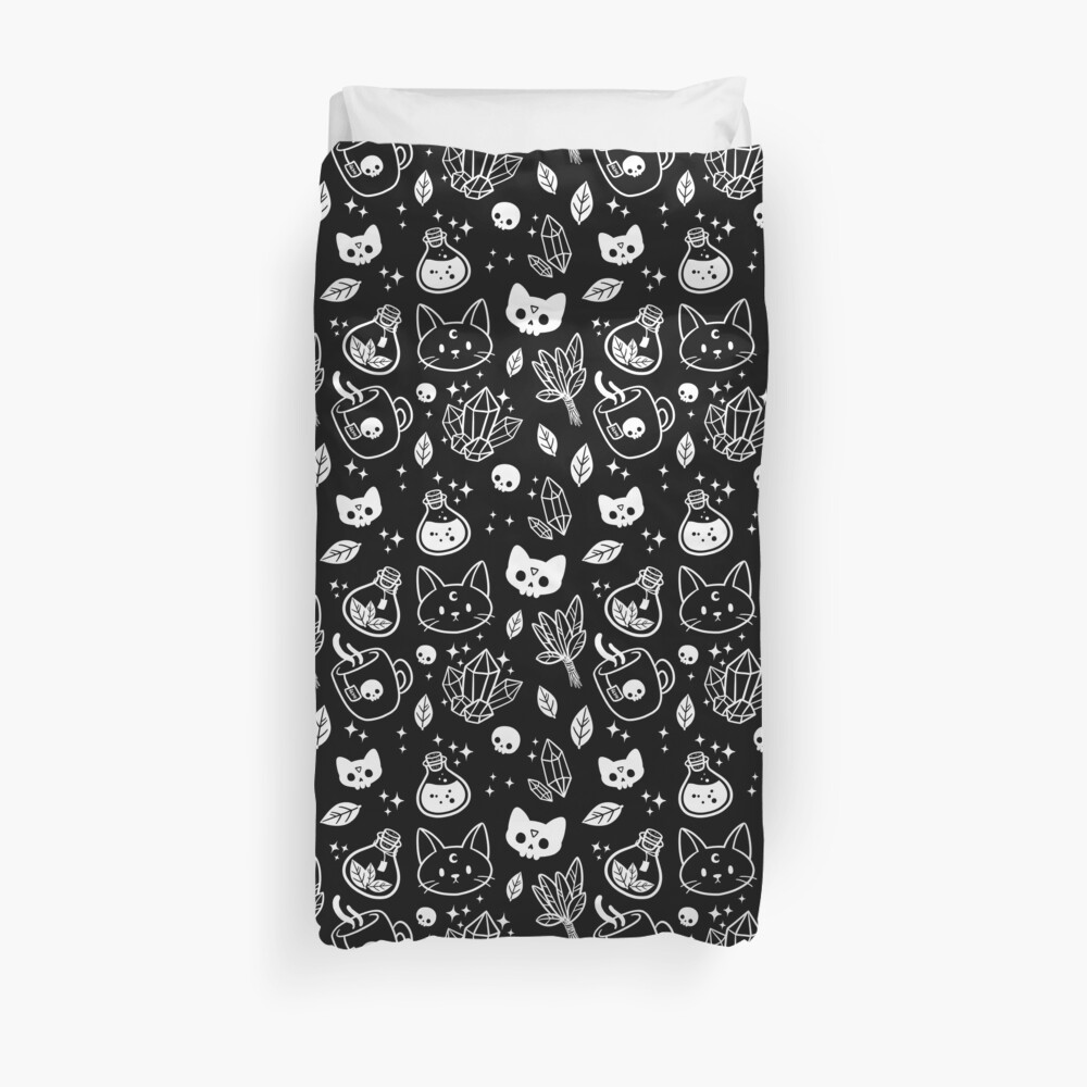 Herb Witch // Black & White Duvet Cover