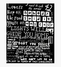 Lyrics Coldplay Photographic Print