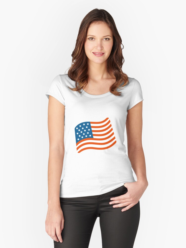 'USA Flag Emoji' Fitted Scoop T-Shirt by lm31