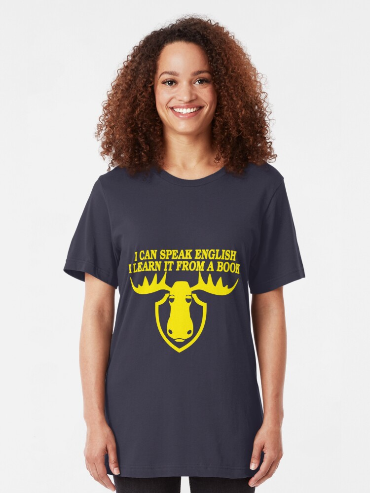 Alternate view of I Can Speak English, I Learn It From a Book Slim Fit T-Shirt