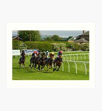 Racing at Kelso, Scotlands friendliest racecourse.... Art Print