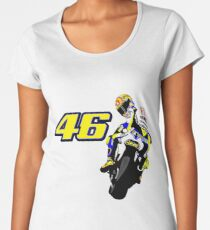 Drawn motorbike with Valentino Rossi Women's Premium T-Shirt
