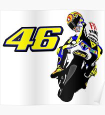 Drawn motorbike with Valentino Rossi Poster