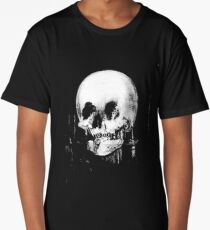 Woman with Halloween Skull Reflection In Mirror Long T-Shirt