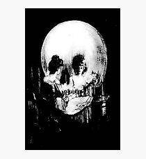 Woman with Halloween Skull Reflection In Mirror Photographic Print