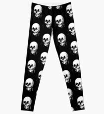 Woman with Halloween Skull Reflection In Mirror Leggings
