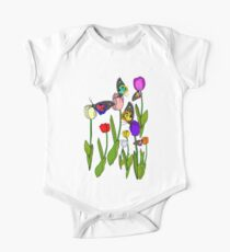 Tulips and Butterflies One Piece - Short Sleeve