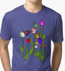 Tulips and Butterflies Tri-blend T-Shirt