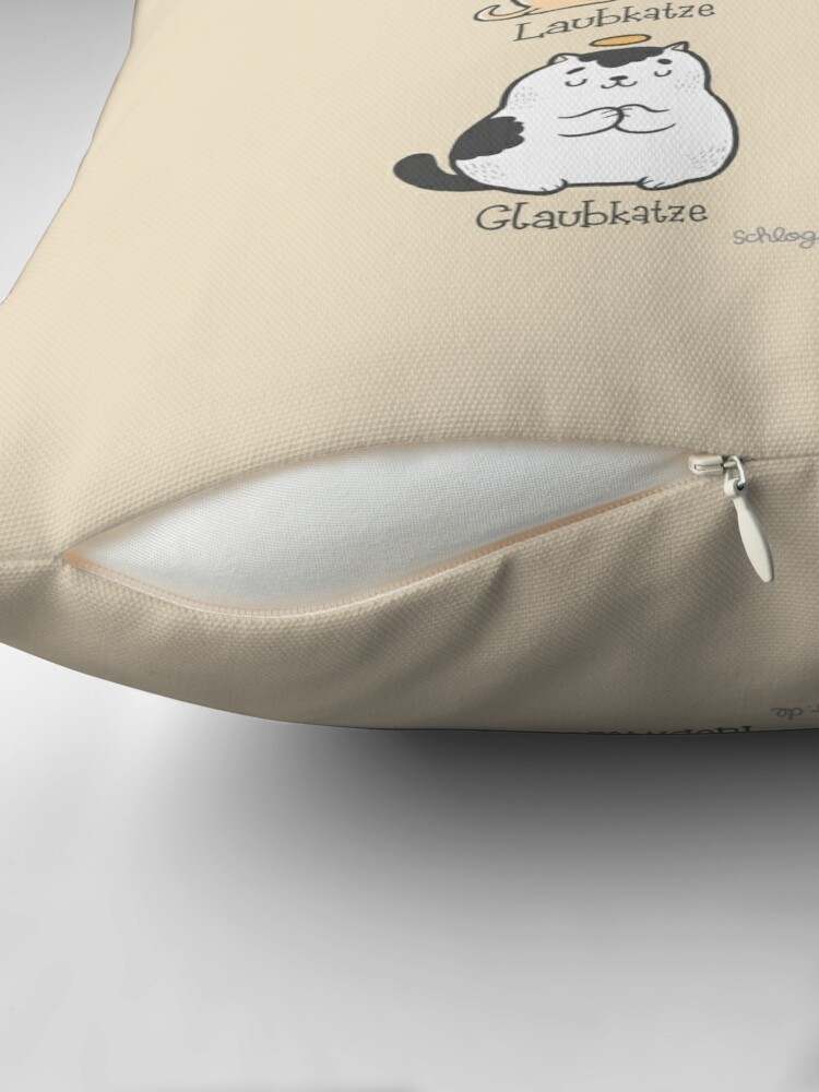 Alternate view of Aub-Katzen (Punny Cats) Throw Pillow