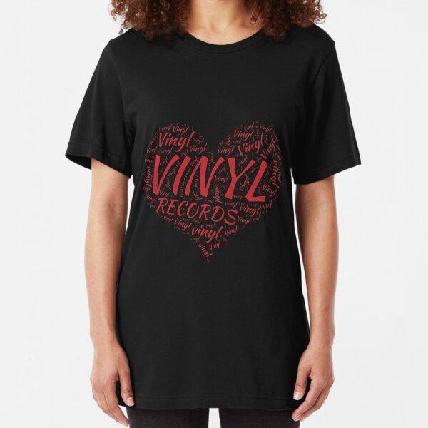 Vinyl Records Heart Slim Fit T-Shirt
