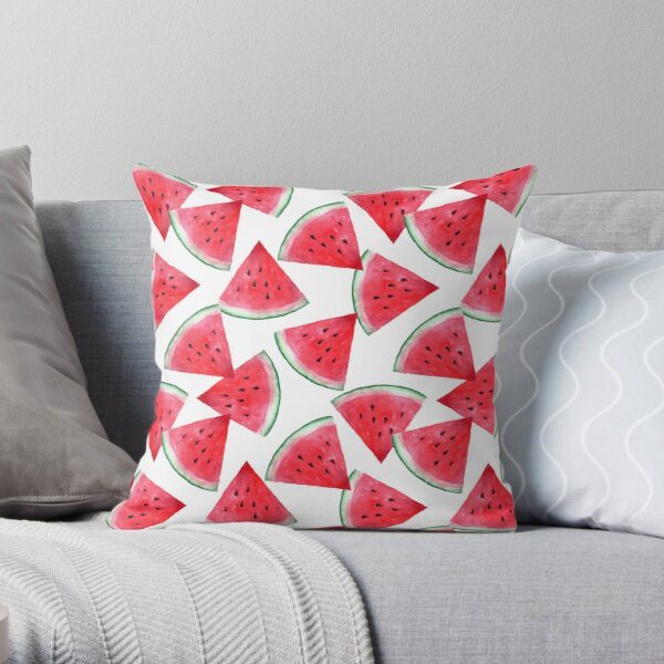 Juicy watermelon. Watercolor Tropical Fruit Throw Pillow