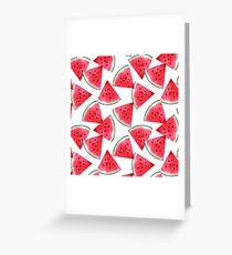 Juicy watermelon. Watercolor Tropical Fruit Greeting Card