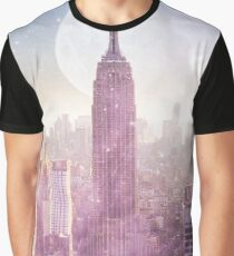 I LOVE PINK NEW YORK CITY SKYLINE - Full Moon Universe Graphic T-Shirt