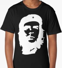 Che, Guevara, Rebel, Cuba, Peoples Revolution, Freedom, WHITE on RED Long T-Shirt