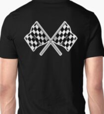 RACE, CAR, Checkered Flag, Crossed, WIN, WINNER, Chequered Flag, Racing Cars, Race, Finish line, on BLACK Unisex T-Shirt