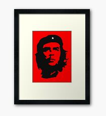 Che, Guevara, Rebel, Revolution, Marxist, Revolutionary, Cuba, Power to the people! Black on Red Framed Print