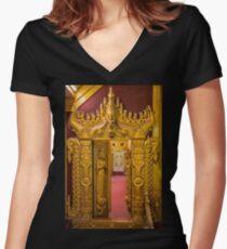 Myanmar. Mandalay. Bo Bo Gyi Nat Shrine. Through the Door. Women's Fitted V-Neck T-Shirt