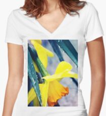 Flowers in the Rain Women's Fitted V-Neck T-Shirt