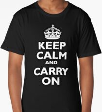 KEEP CALM, Keep Calm & Carry On, Be British! Blighty, UK, United Kingdom, white on black Long T-Shirt