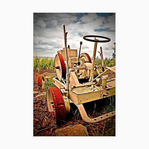 Old tractor at sunset - Cramant - Champagne region Photographic Print
