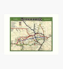 TUBE, UNDERGROUND, MAP, 1908, London, Historic, UK, GB, England, on Green Art Print