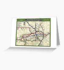 TUBE, UNDERGROUND, MAP, 1908, London, Historic, UK, GB, England, on Green Greeting Card