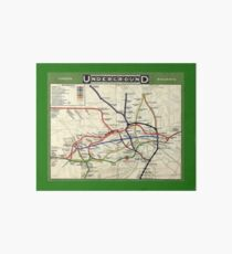 TUBE, UNDERGROUND, MAP, 1908, London, Historic, UK, GB, England, on Green Art Board