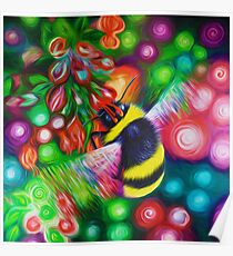 Bumblebee - Bee Wildlife and Colourful Flowers Poster