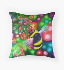Bumblebee - Bee Wildlife and Colourful Flowers Throw Pillow