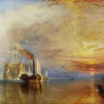 TURNER, The Fighting Temeraire, 1839, by Joseph Mallord William Turner. on White by TOMSREDBUBBLE