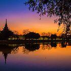 Myanmar. Mandalay. Royal Palace. Walls and Moat. Sunset. by vadim19