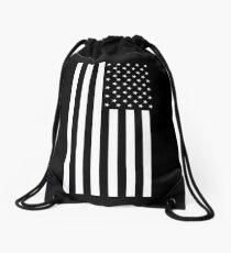 American Flag, BLACK, In Mourning, America, Americana, Stars & Stripes, White on Black, PORTRAIT, USA Drawstring Bag