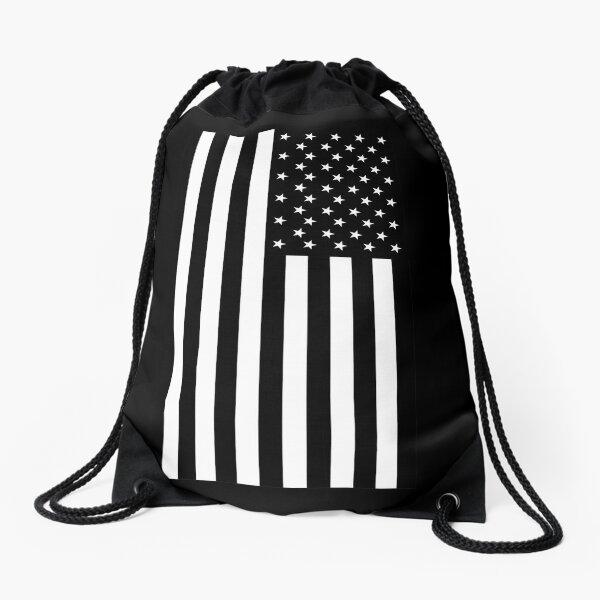 American Flag, BLACK, In Mourning, America, Americana, Stars & Stripes, White on Black, PORTRAIT, USA. Drawstring Bag