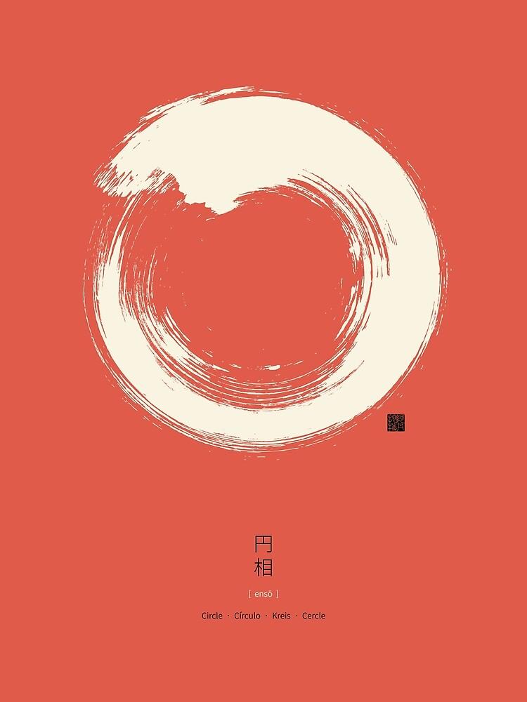 Red Ensō / Japanese Zen Circle by Thoth-Adan