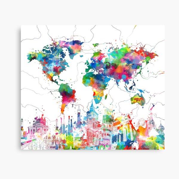 mapa del mundo Lienzo