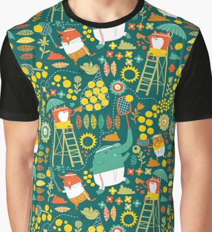 tennis on teal Graphic T-Shirt
