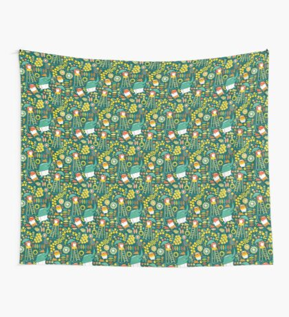 tennis on teal Wall Tapestry
