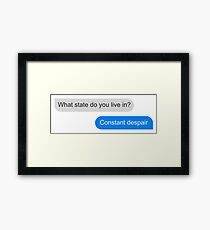 Official What state do you live in? Constant Despair Tee Framed Print