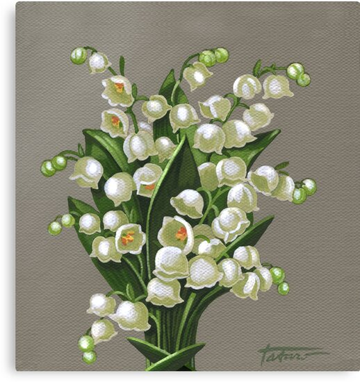 Lilies of the valley acrylic painting by vera ema tataro