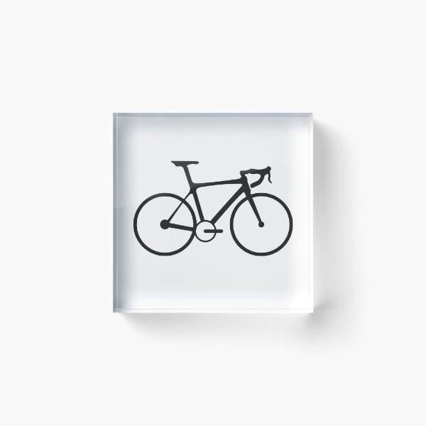 Racing Bike. Road Bike, Racing bicycle, Black on White. Acrylic Block