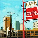 Coca Cola Park - urban landscape painting by LindaAppleArt