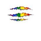 Rainbow claw scratches T-shirt by Bruno Beach
